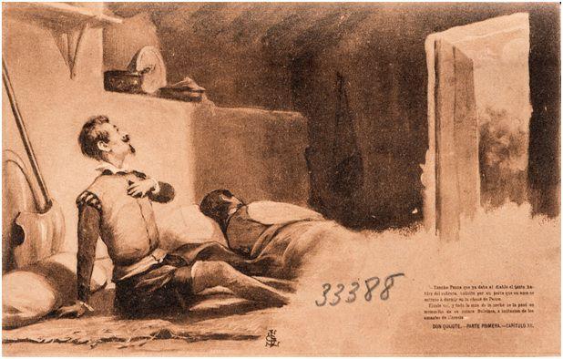 12.- Don Quijote y Sancho en la choza de los cabreros (DQ I, 12)