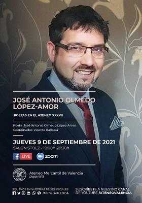 El poeta valenciano José Antonio Olmedo abrirá el curso poético en el Ateneo Mercantil