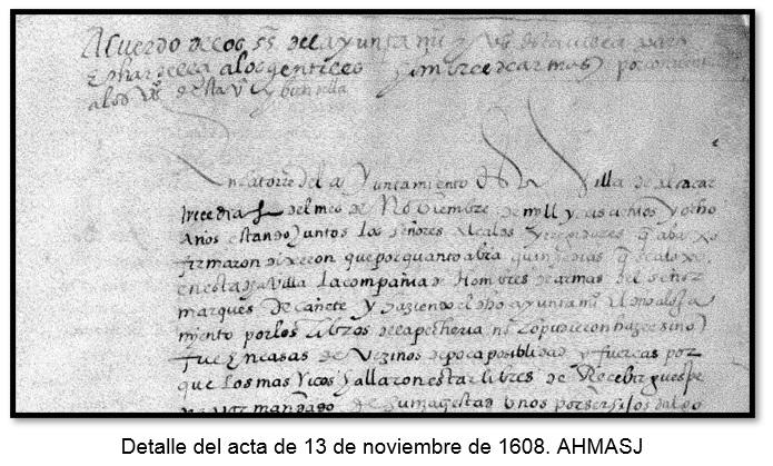 Detalle del acta de 13 de noviembre de 1608. AHMASJ