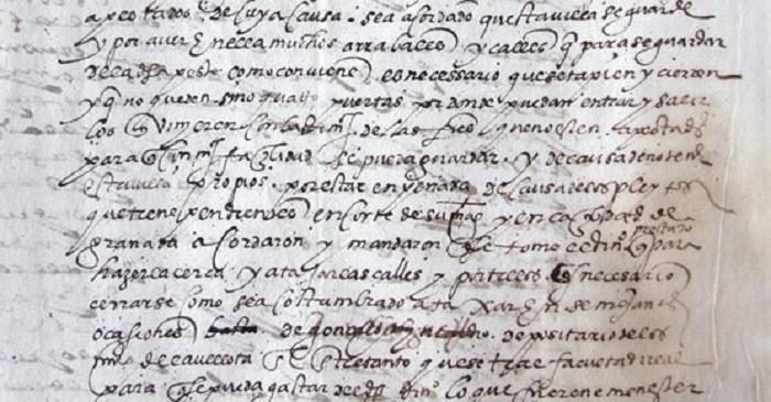 Detalle del acuerdo  de 1601 para cercar Alcázar de San Juan. AHMASJ
