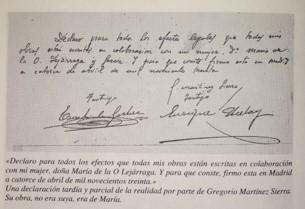 Declaración de Gregorio Martínez Sierra reconociendo la autoría de María Lejárraga de sus obras