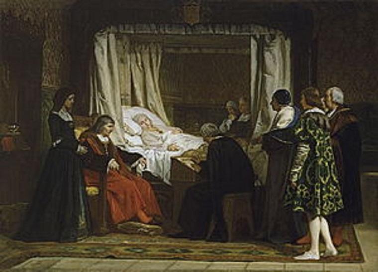 Doña Isabel la Católica dictando su testamento. Cuadro de E. Rosales
