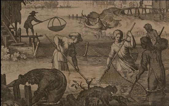 Detalle de escena de pesca. Grabado de Philippe Galle, 1582-1600. BNE