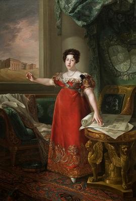 María Isabel de Braganza como fundadora del Museo del Prado. Bernardo López Piquer