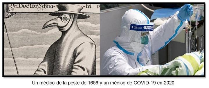 Un médico de la peste de 1656 y un médico de COVID-19 en 202o