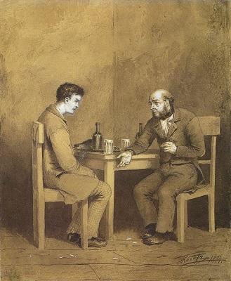 Ilustración de Mijaíl Petróvich Klodt. Conversación entre Raskolnikov y Marmeladov en Crimen y castigo