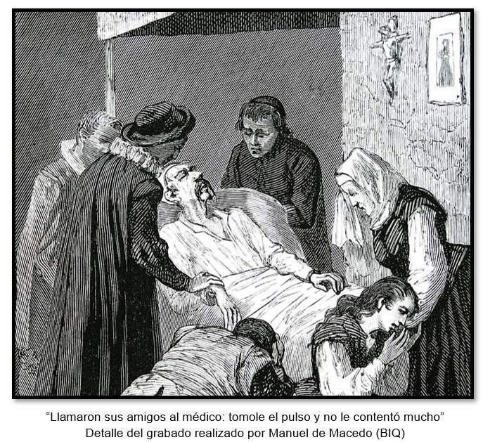 """""""Llamaron sus amigos al médico: tomole el pulso y no le contentó mucho"""". Detalle del grabado realizado por Manuel de Macedo (BIQ)"""