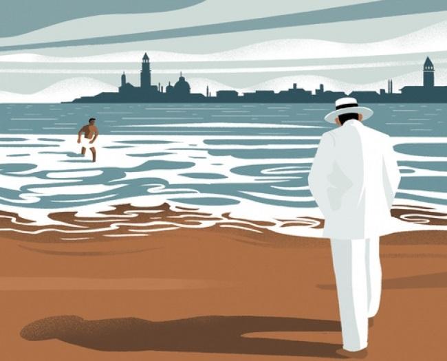 Ilustración de 'Muerte en Venecia' de Thomas Mann en la edición española de Debolsillo