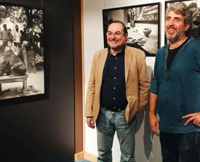 Óscar Pujol y Jordi Carot en un acto entre la India y Benares