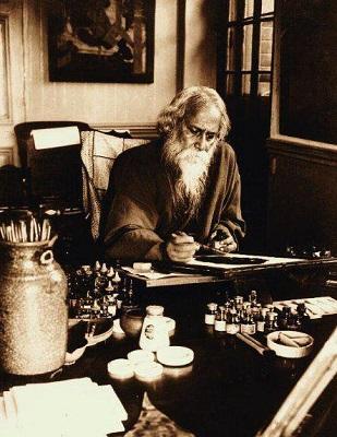Tagore diseñando en su despacho de Santiniketon