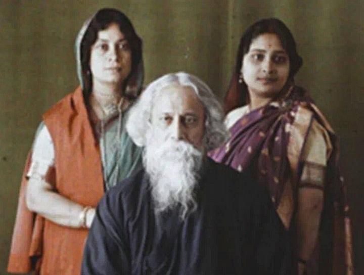 Tagore con su hija Bela y su nuera  Protima