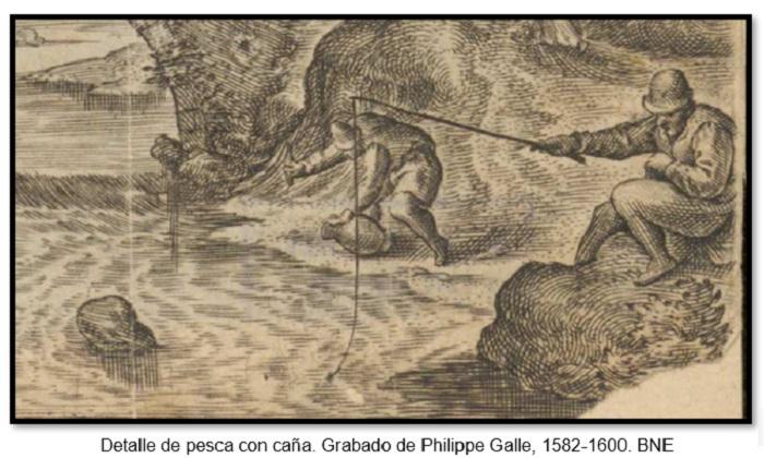 Detalle de pesca con caña. Grabado de Philippe Galle, 1582-1600. BNE