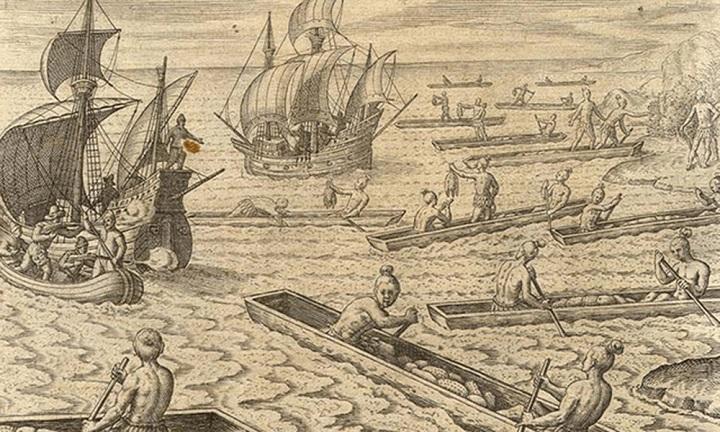 Ilustración de las luchas con los caribes