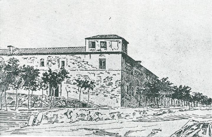 Dibujo del Monasterio de la Concepción de Alcázar de San Juan que aparece en la Enciclopedia Ilustrada Seguí