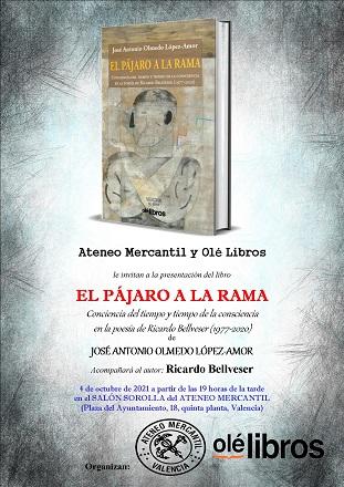 José Antonio Olmedo presenta en el Ateneo Mercantil su libro de investigación sobre la poesía de Ricardo Bellveser