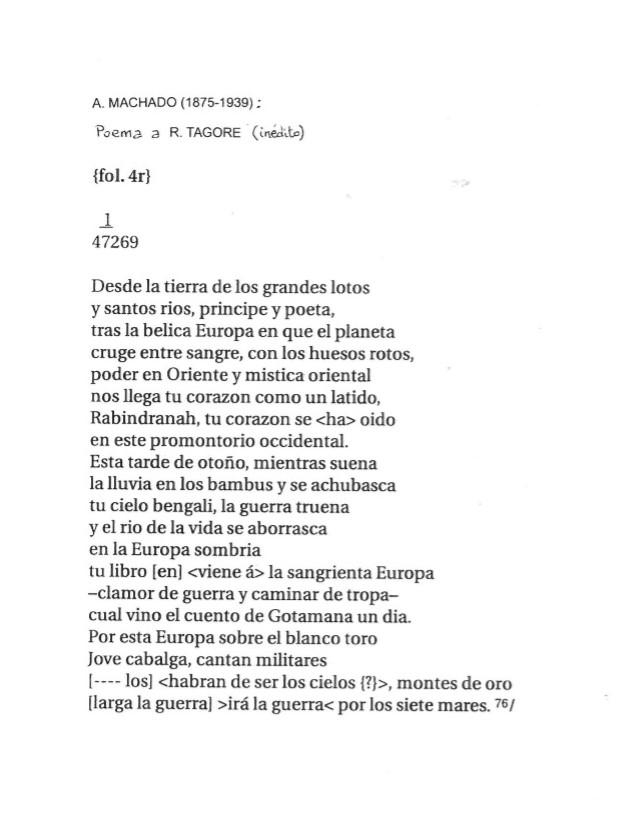 Poema de Antonio Machado dedicado a Robindronath Tagore
