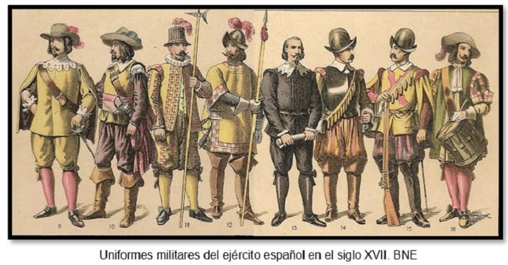 Uniformes militares del ejército español en el siglo XVII. BNE