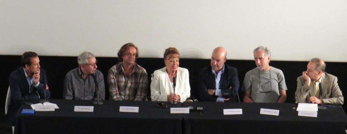 De izquierda a derecha, Adolfo Blanco, Sacrist�n,  Estelrich, Gemma Cuervo, Resines, F. Trueba y Fernando Lara