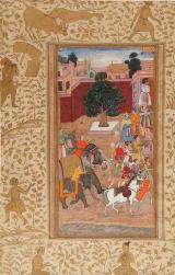 Abu-L Fazl: Procesi�n del emperador Akbar, hoja suelta del Akbar Namah. India del Norte, manuscrito, ca. 1600-1603. Inventario 15645-3.