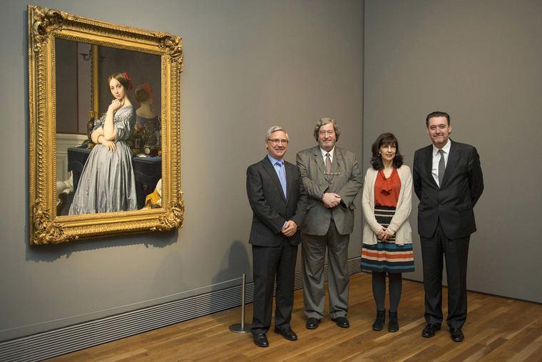 De izquierda a derecha: Jean-Paul Rignault, presidente de la Fundación AXA; Vincent Pomarède, conservador del Musée du Louvre y comisario de la muestra; Florence Viguier-Dutheil, directora del Musée Ingres (Montauban); y Miguel Zugaza, director del Museo del Prado