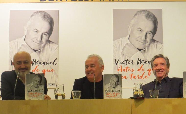 Pablo Álvarez, Director de la editorial Aguilar, Victor Manuel e Iñaki Gabilondo