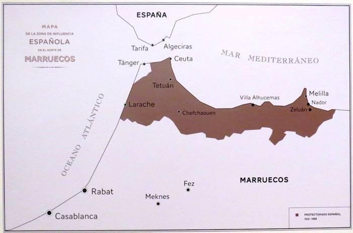 Mapa de la zona de influencia española en el Norte de Marruecos
