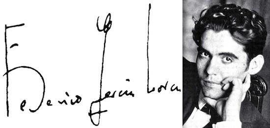 Federico García Lorca, firma y retrato