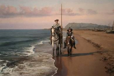 Don Quijote y Sancho Panza en el mar