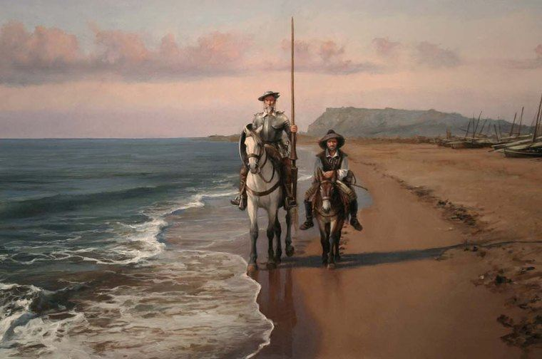 Don Quijote y Sancho Panza en el mar
