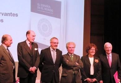 De izquierda a derecha: Nicolás Sánchez-Albornoz, el Marqués de Tamarón, Fernando R. Lafuente, César Antonio Molina, Carmen Caffarel y Víctor García de la Concha