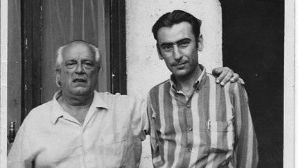 Carlos Sahagún, en Roma, con Rafael Alberti. Años 70