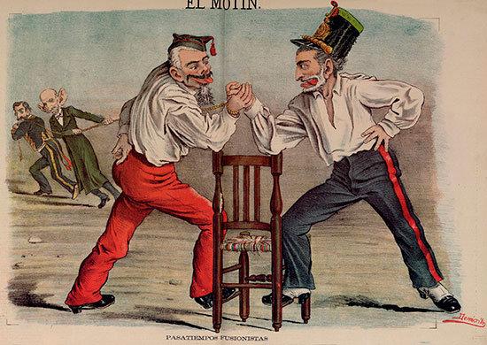 Pasatiempos fusionistas, caricatura de Martínez Campos y Sagasta, dibujo de Eduardo Sojo, publicado en El Motín el 10 de julio de 1881. Fuente: Wikipedia