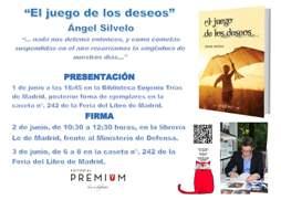 Ángel Silvelo firmará, los días 1 y 3 de junio en la Feria del Libro de Madrid 2017, ejemplares de su última novela