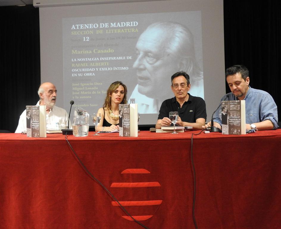 """Marina Casado presenta su libro """"La nostalgia inseparable de Rafael Alberti. Oscuridad y exilio íntimo en su obra"""""""