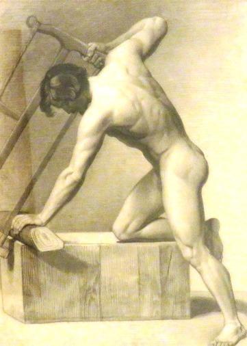 Desnudo masculino serrando, año 1855. Eduardo Rosales (Madrid, 1836- Madrid, 1873)